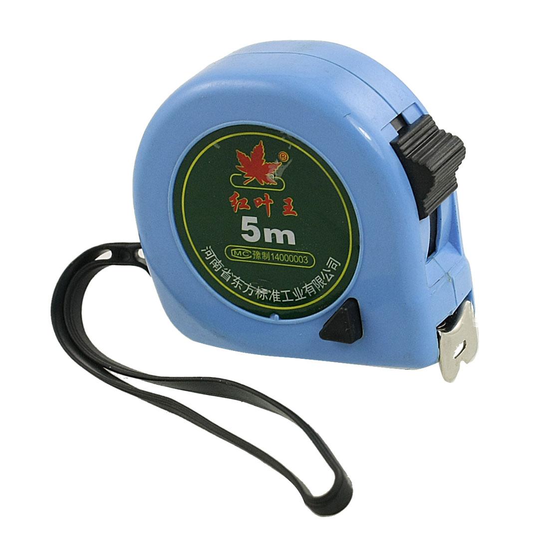 Belt Clip Dual Scale 5M Flexible Steel Measuring Tapeline Tape Ruler Blue