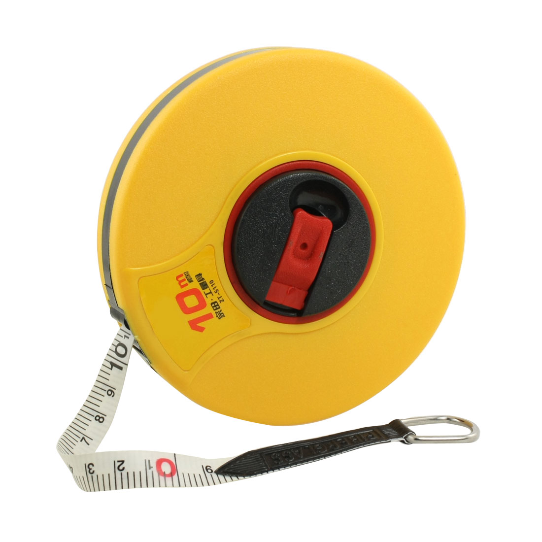 10M Length Yellow Plastic Cover Retractable White PU Tape Line Measure