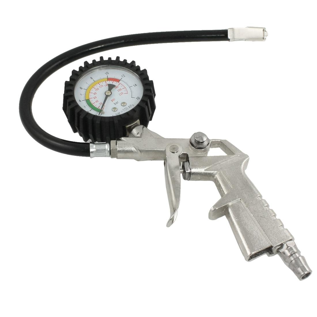 Auto Car Travel Inflating Gun w Tire Air Pressure Gauge Black
