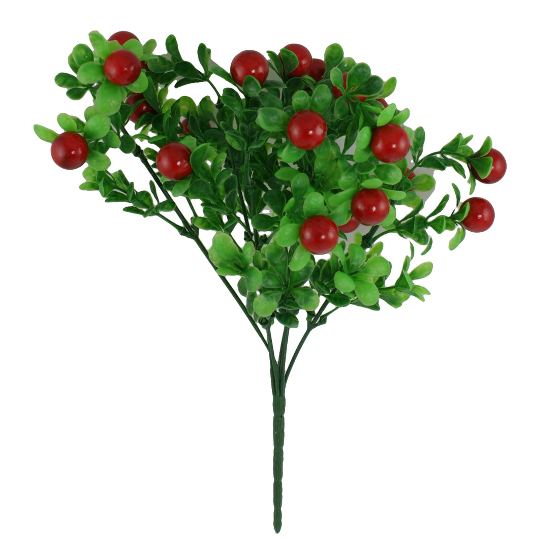 Artificial Plastic Green Leaf Red Fruits Bouquet Decoration 13""