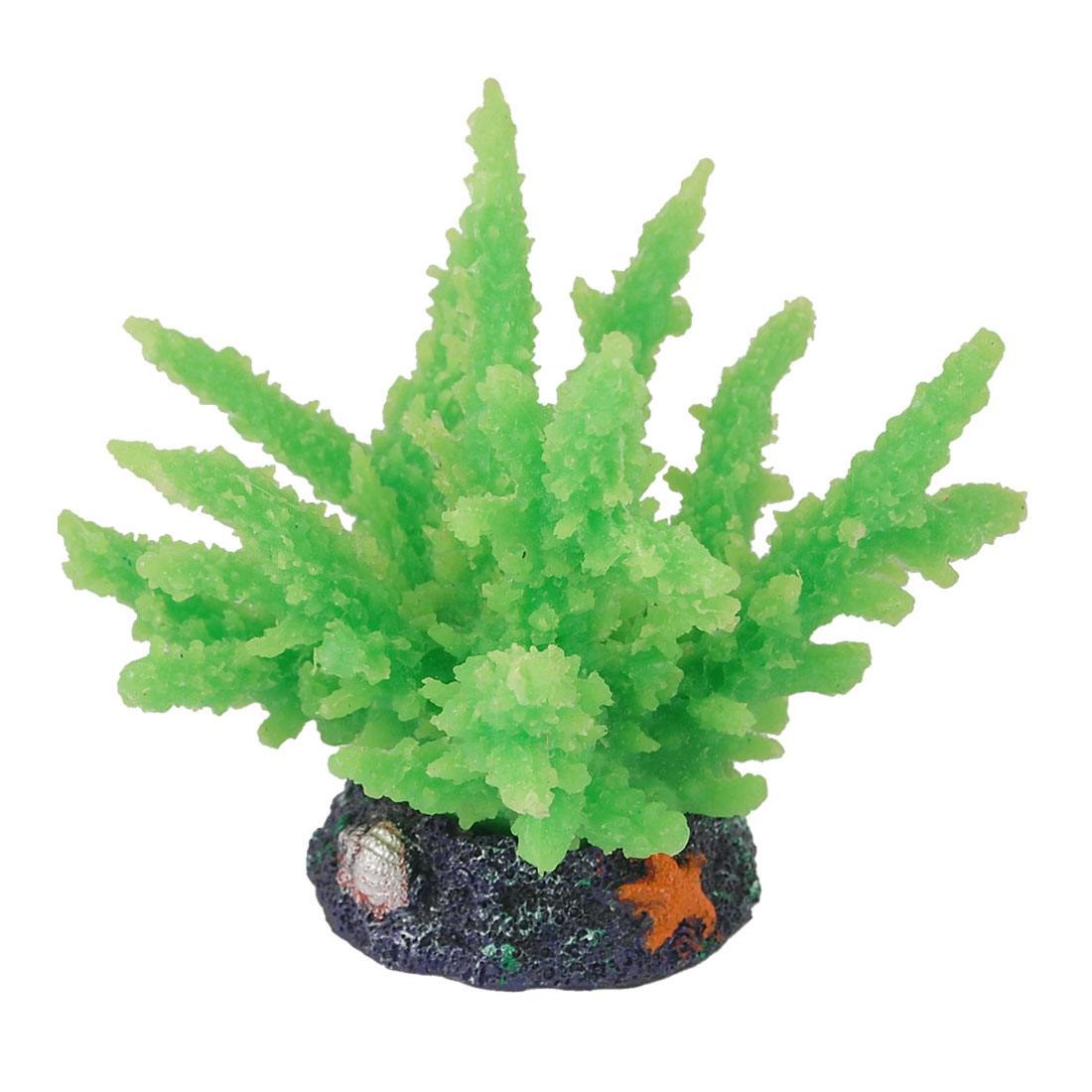 Star Seashell Pattern Silicone Fish Tank Decoration Coral Ornament Green