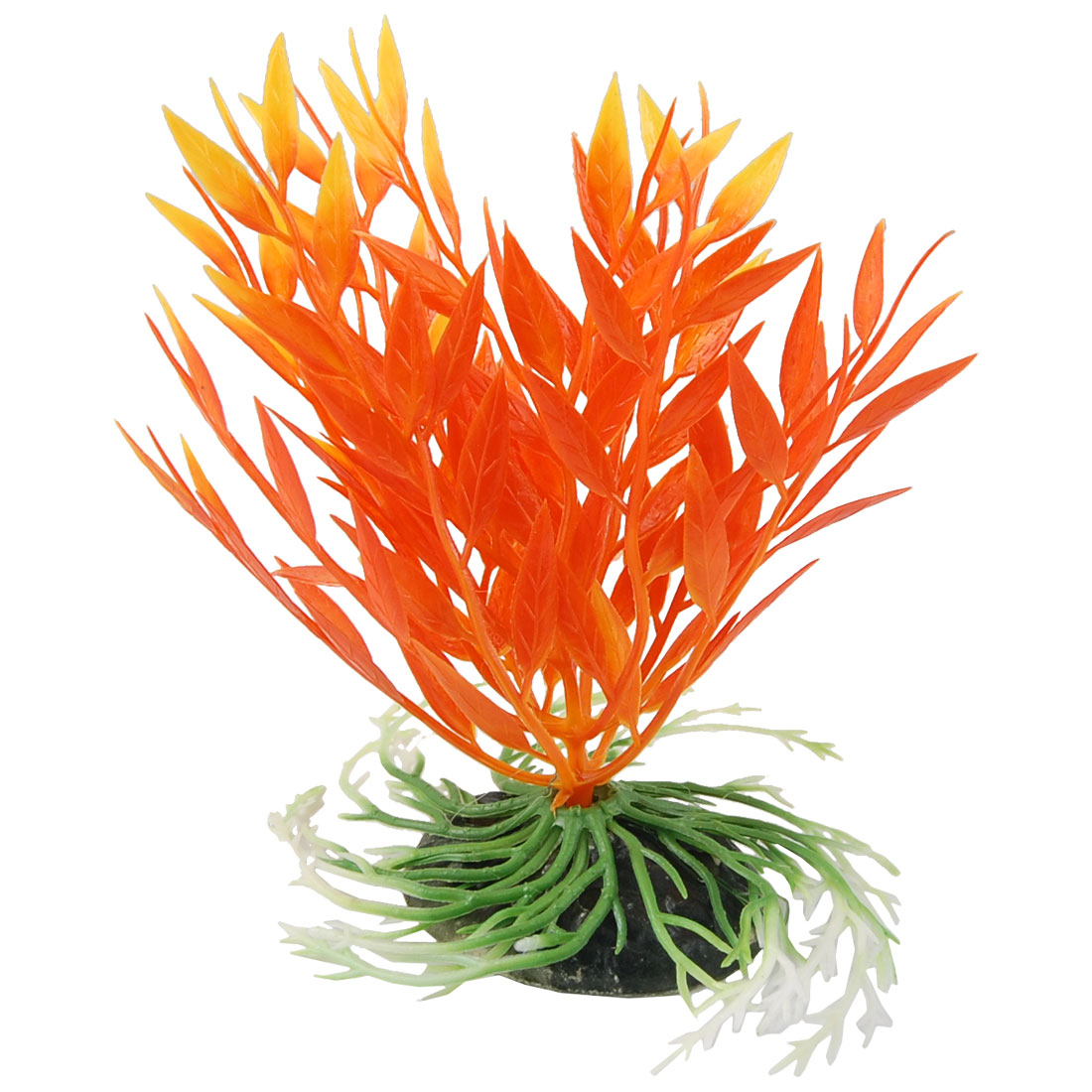 "Aquarium Plastic Plant Decoration Orange Red Green 5.5"" w Ceramic Base"