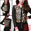 Women Button Closure Round Neck Semi Sheer Leopard Print Blouse L