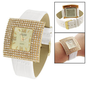 Woman White Faux Leather Band Rhinestone Accent Gold Tone Square Case Watch