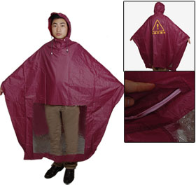 Water Resistant Nylon PVC Hooded Motorcycle Rain Poncho Coat Burgundy for Adult
