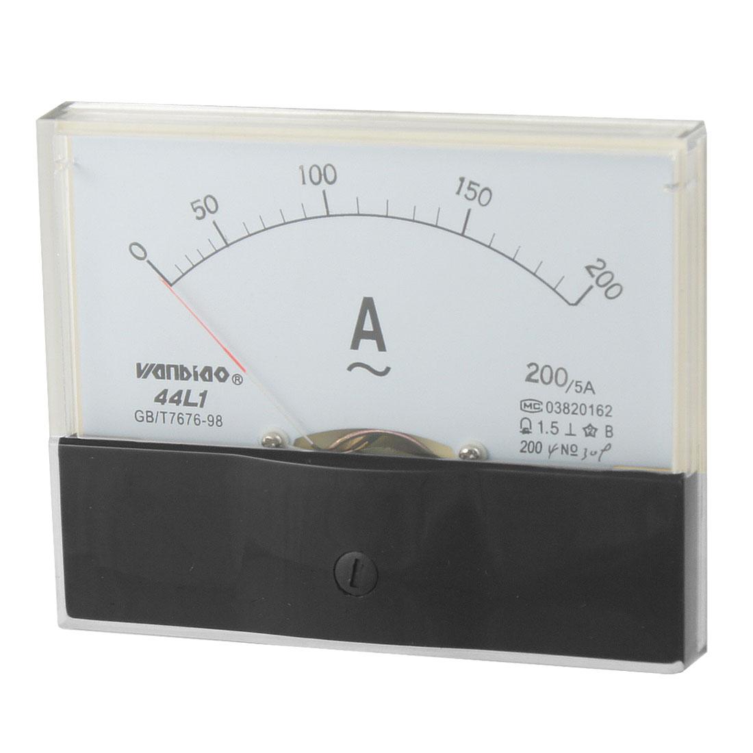 Plastic Housing AC 0-200A Range Analog Panel Meter Amperemeter