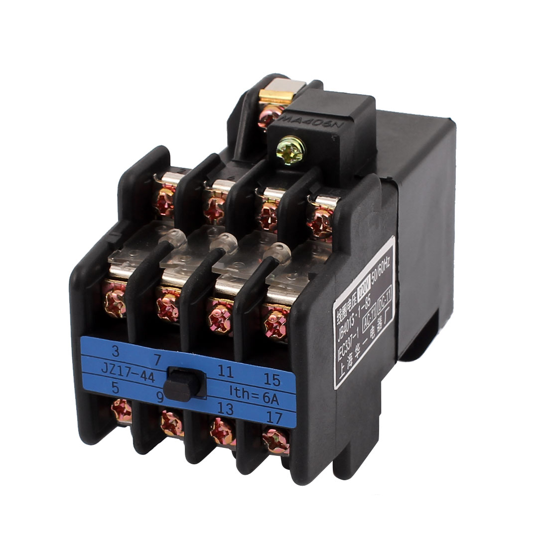 AC 220V Coil Voltage Ith 6A 4NO + 4NC Auxiliary Contactor Relay JZ17-44