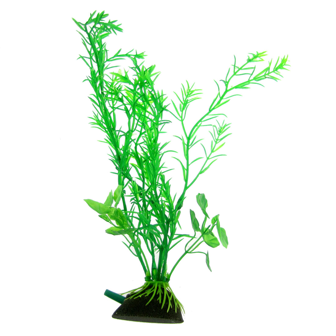 "9.8"" Height Aquarium Plastic Green Plant Ornament w Air Stone Base"
