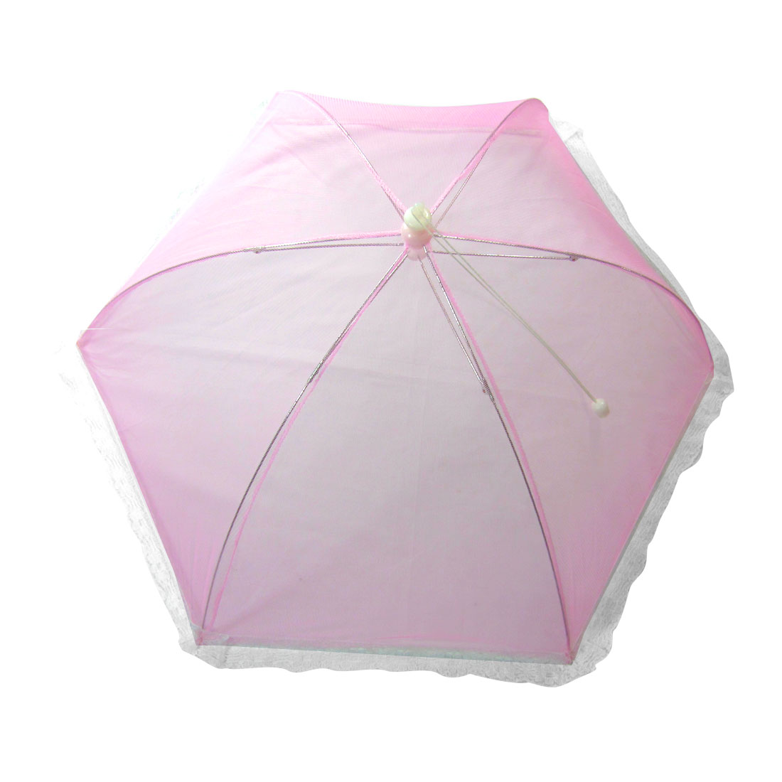 Pink Foldable Umbrella Style White Lace Metal Frame Table Food Cover