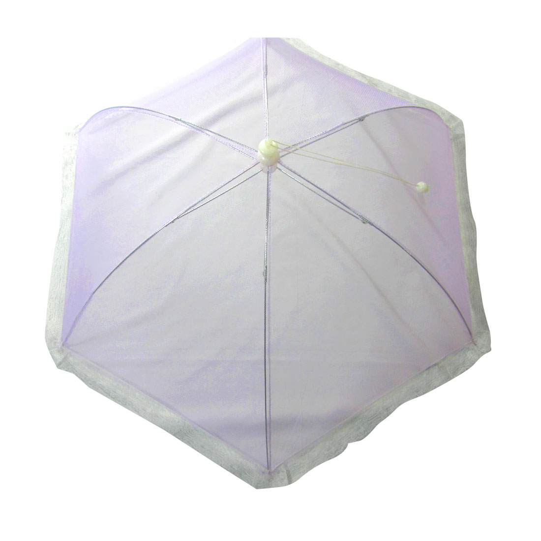 Purple Foldable Umbrella Style White Lace Metal Frame Table Food Cover