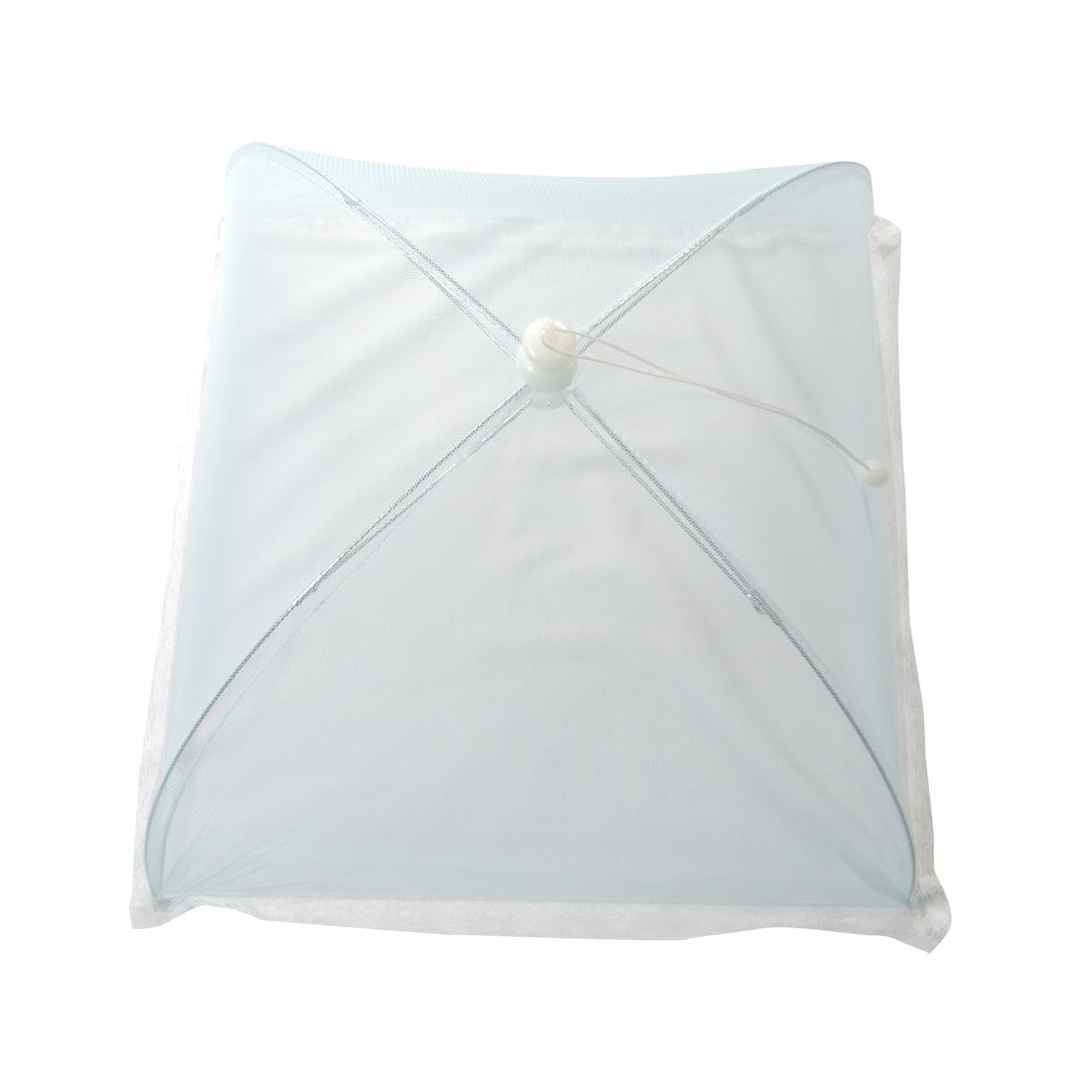 Skyblue Collapsible White Lace Hem Metal Frame Picnic Food Cover Umbrella