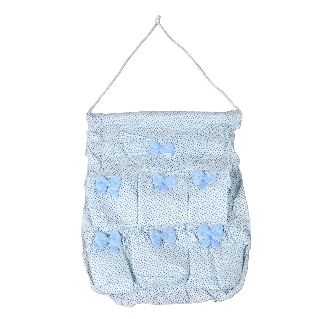 Bowknot Decor Sponge 7 Pockets Organizer Hanging Storage Bag Blue
