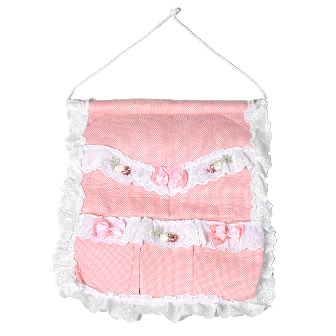 Bow Floral Decor Sponge Soft 5 Pockets Organizer Hanging Storage Bag Pink