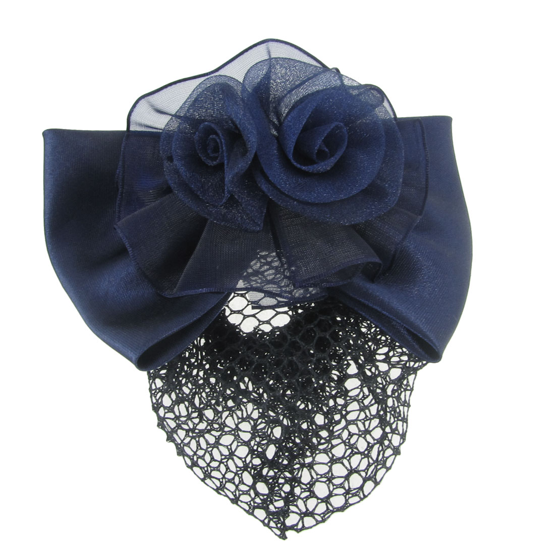 Women Polyester Blue 3D Flower Barrette Snood Net Hair Clip