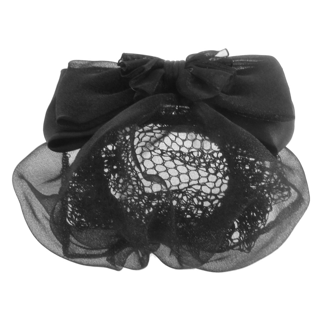 Ladies Black Polyester Guaze Bowknot Two Tiers Snood Barrette Metal Hair Clip