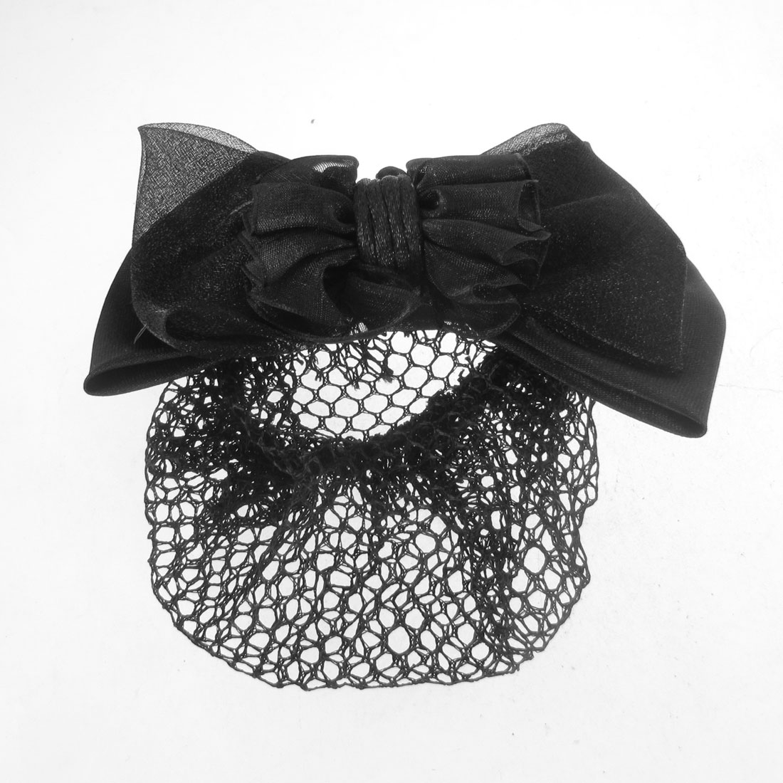 Ladies Black Polyester Guaze Bowknot Snood Net Barrette Metal Hair Clip