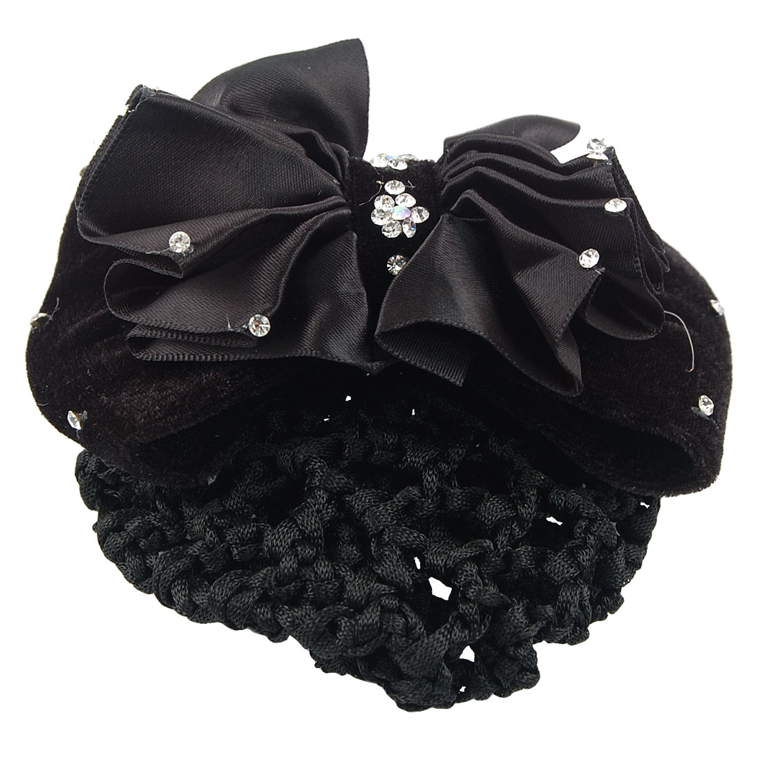 Woman Black Rhinestone Flower Hair Clip Snood Net Barrette
