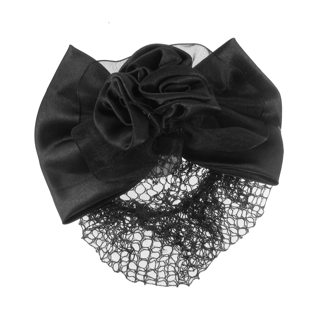 Ladies Black Color 3D Flower Polyester Roses Barrette Snood Net Hair Clip