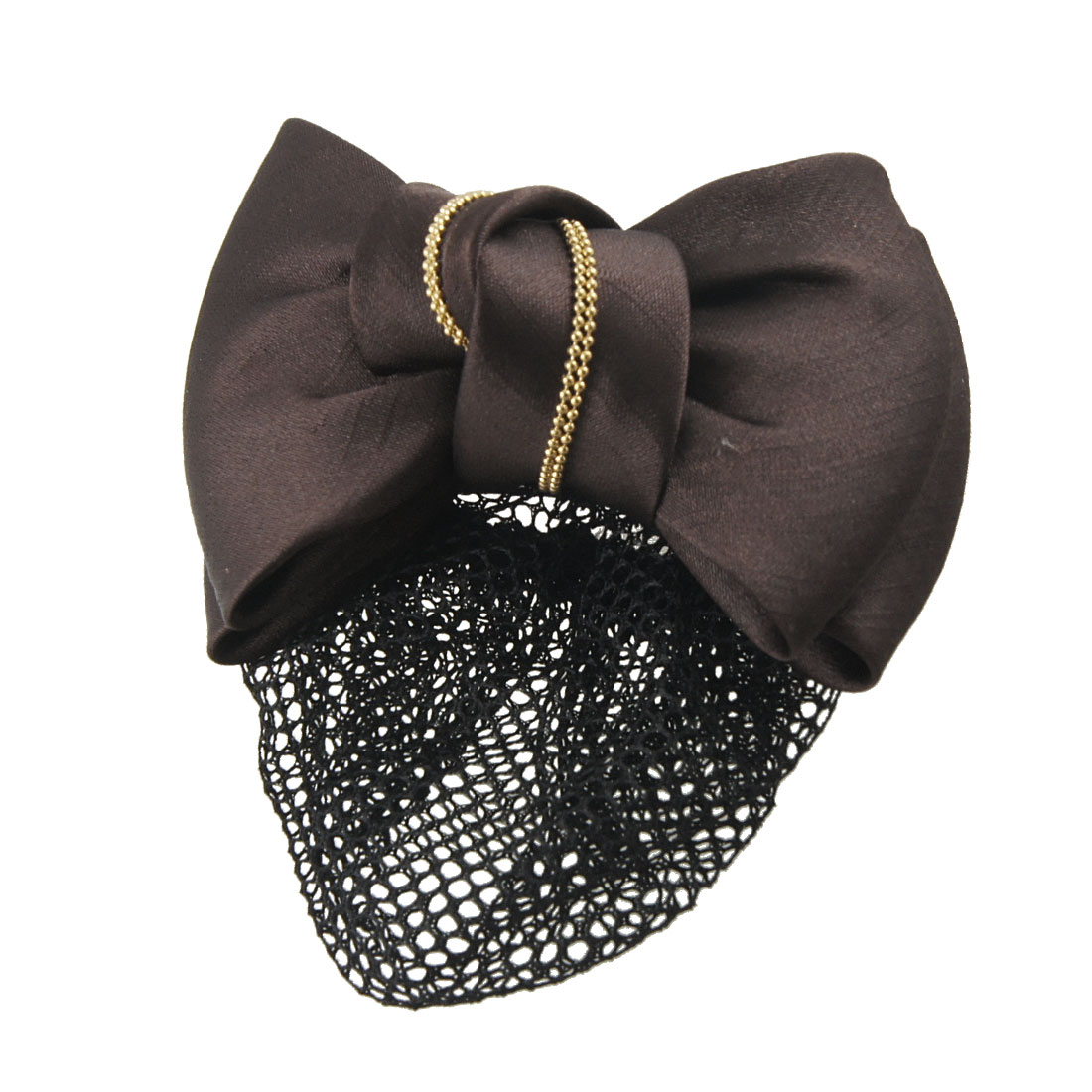 Women Yellow Imitation Pearl Details Coffee Color Bowtie Decor Black Hairnet Hairclip