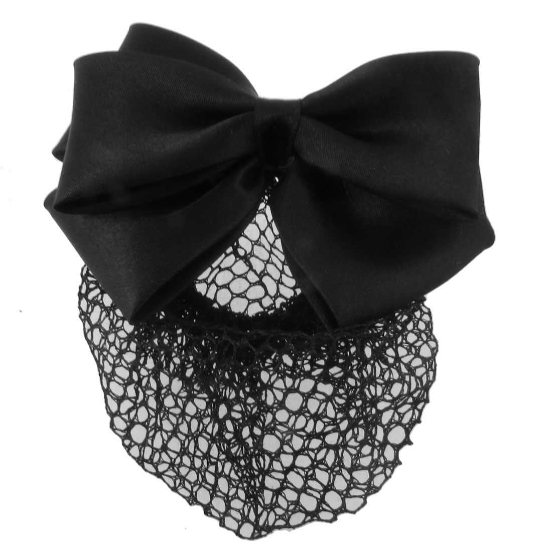 Black Three Layers Polyester Bowknot Snood Net Barrette Metal Hair Clip for Women