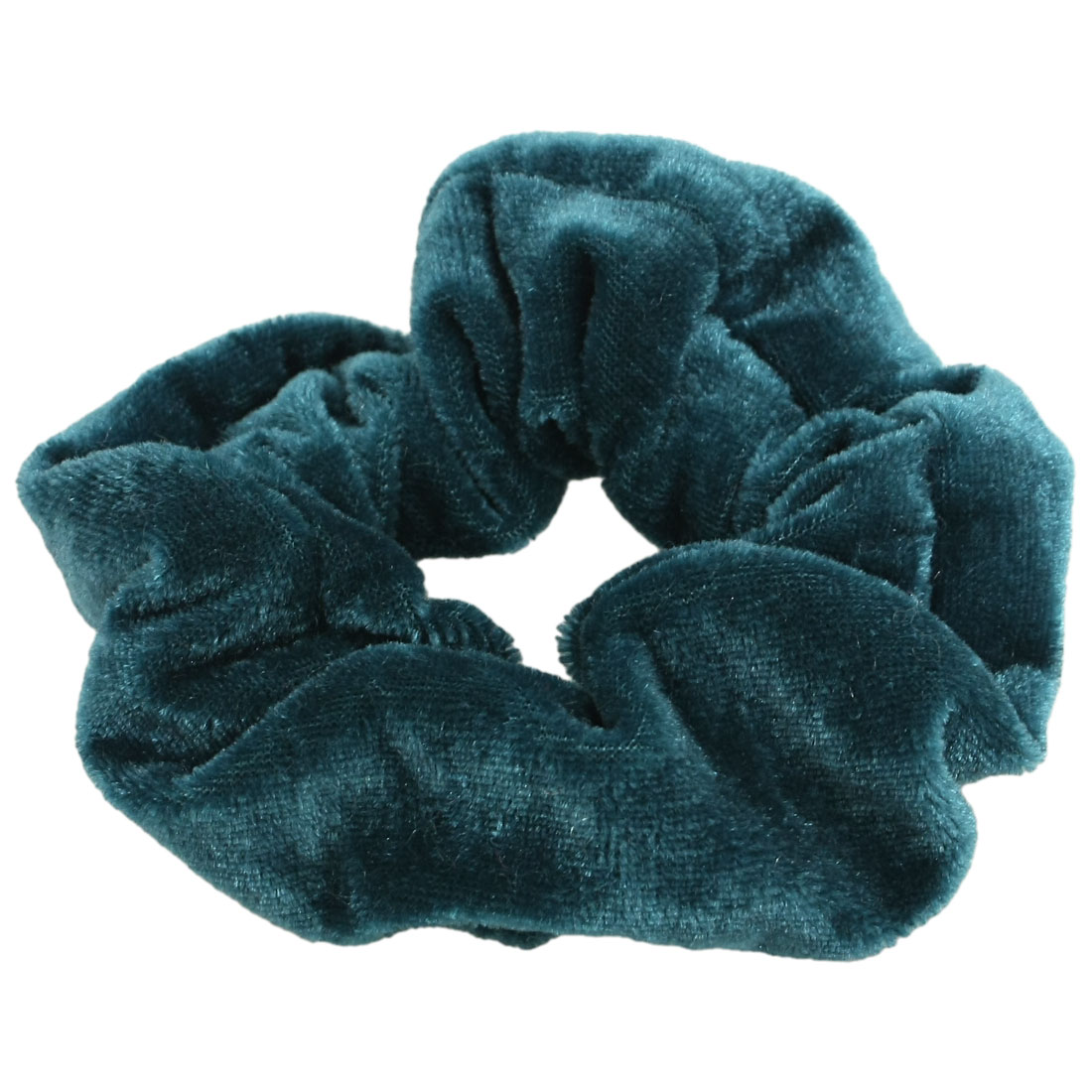 Teal Blue Velvet Elastic Hair Tie Band Ponytail Holder for Women