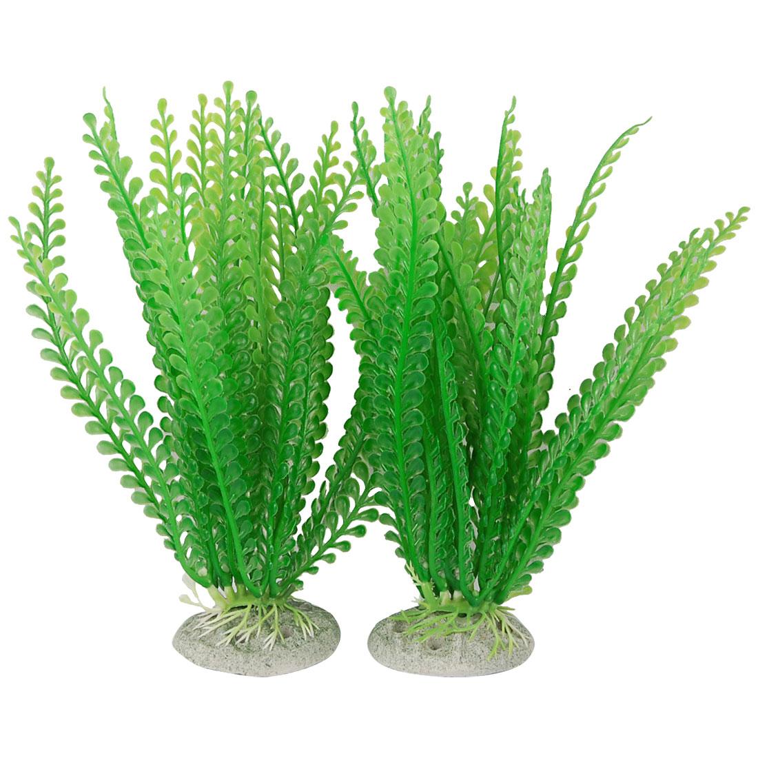 """Fish Tank Aquarium Simulated Green Plastic Plants Ornament Decor 8"""" 4 Pcs"""