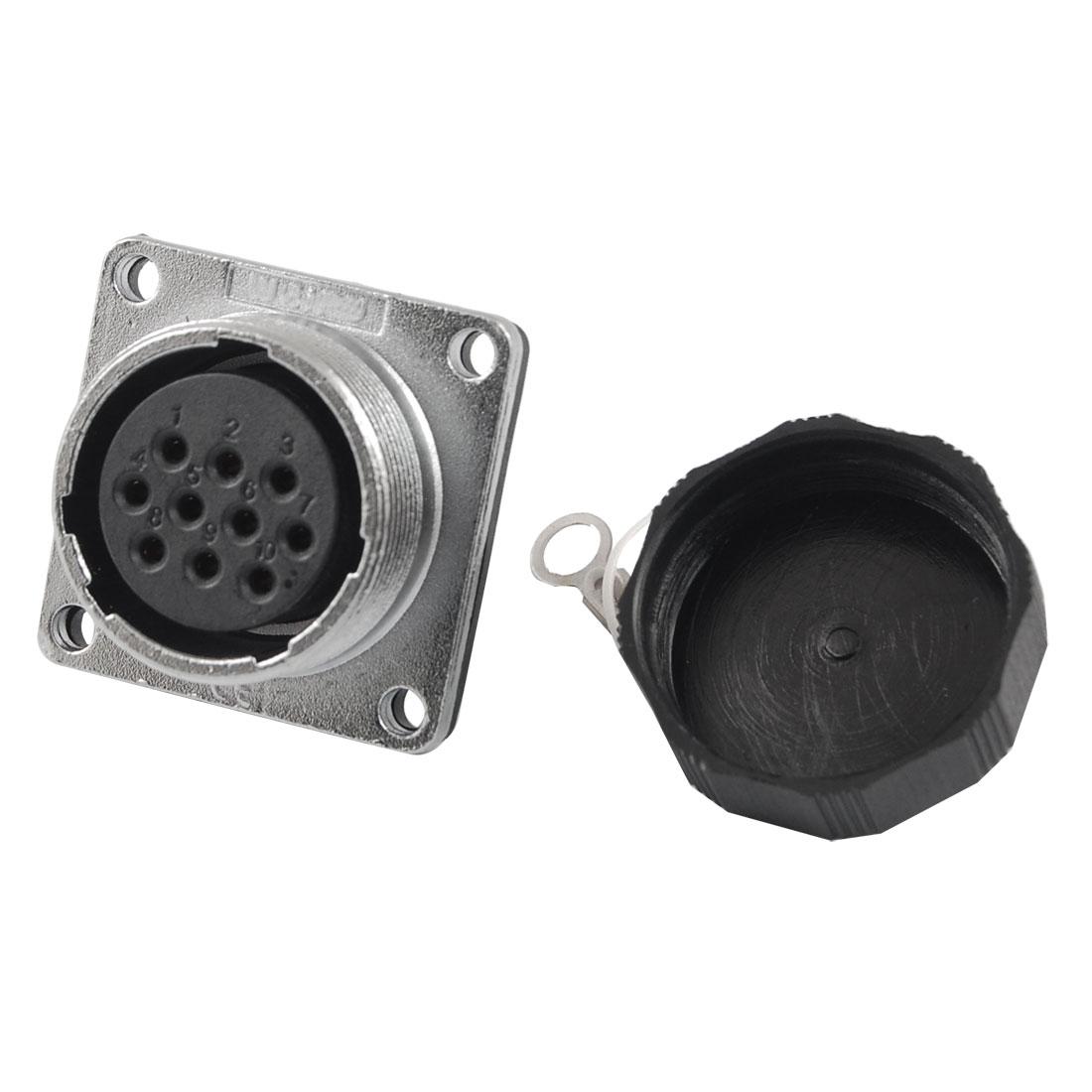 24mm Base 10 Pins Alumnium Shell Capped Aviation Connector Plug AC 500V 10A