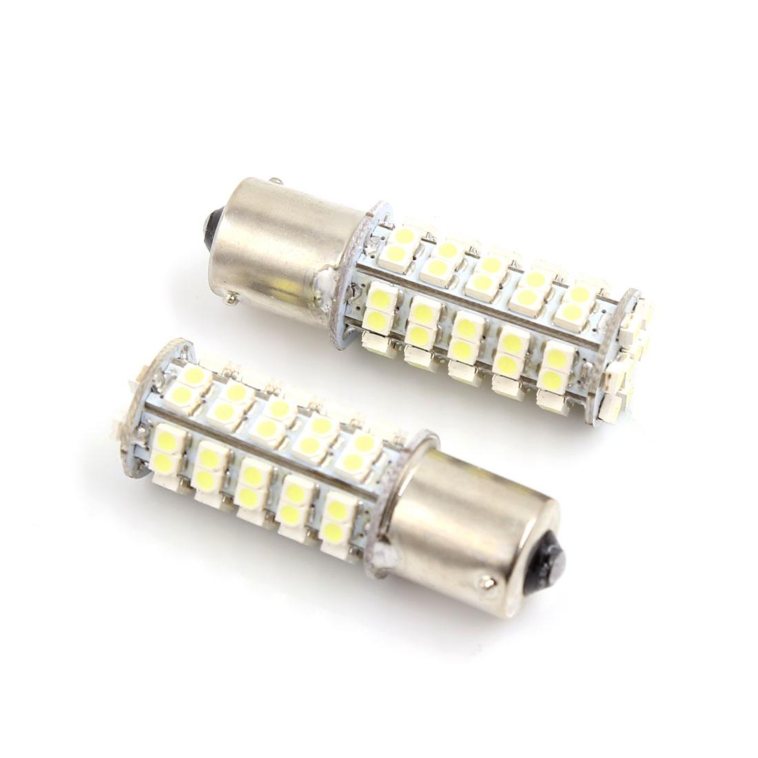 2 Pcs Car 1156 BA15S 1206 68-SMD LED Tail Brake Backup White Light Bulbs