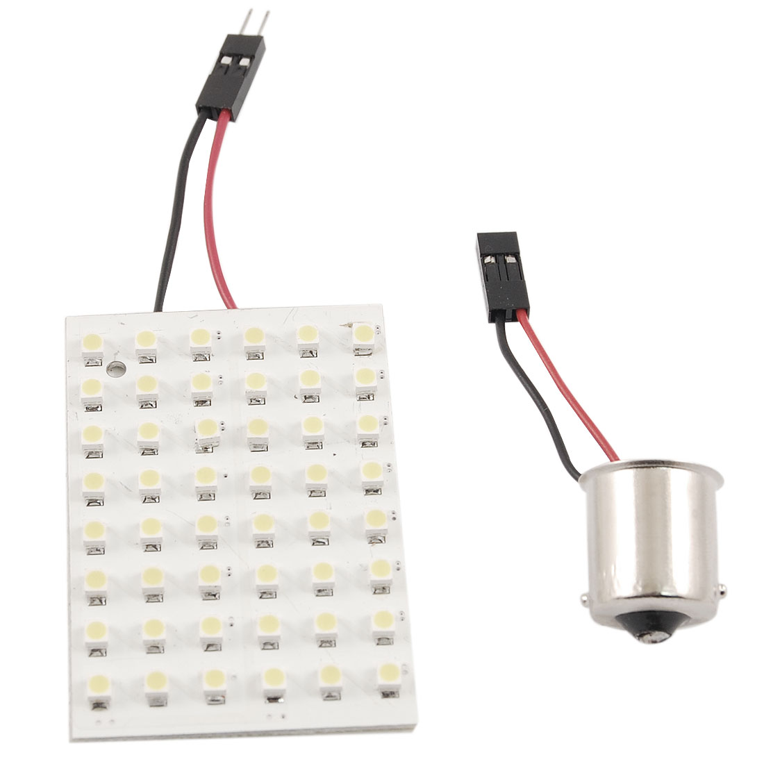 White 3528 SMD 48 LED Car Interior Dome Light Panel w BA9S Adapter