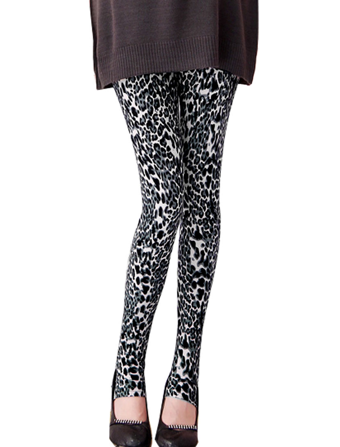 Maternity Button Elastic Waistband Leopard Print Leggings XS
