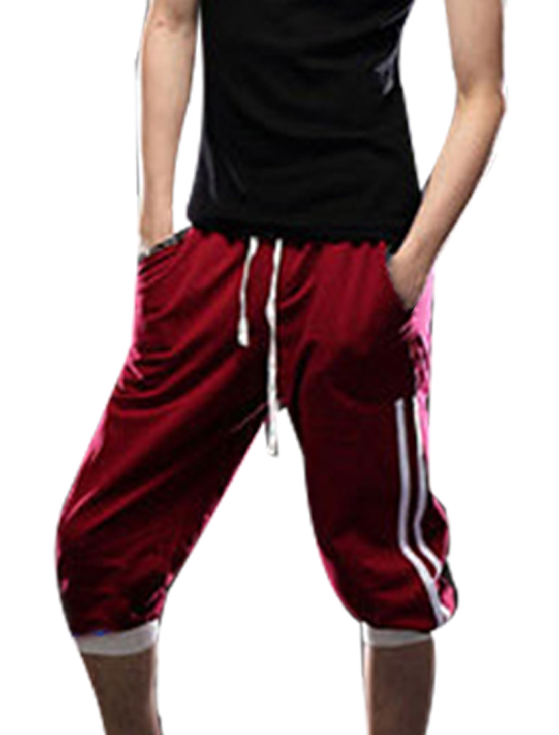 W32 Drawstring Ribbed Waist Burgundy Sports Capri Pants for Men