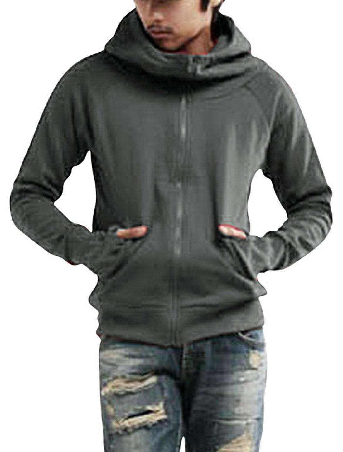 Mens Raglan Sleeve Hoodie Hoody Casual Jacket Sweatshirt Dark Gray M