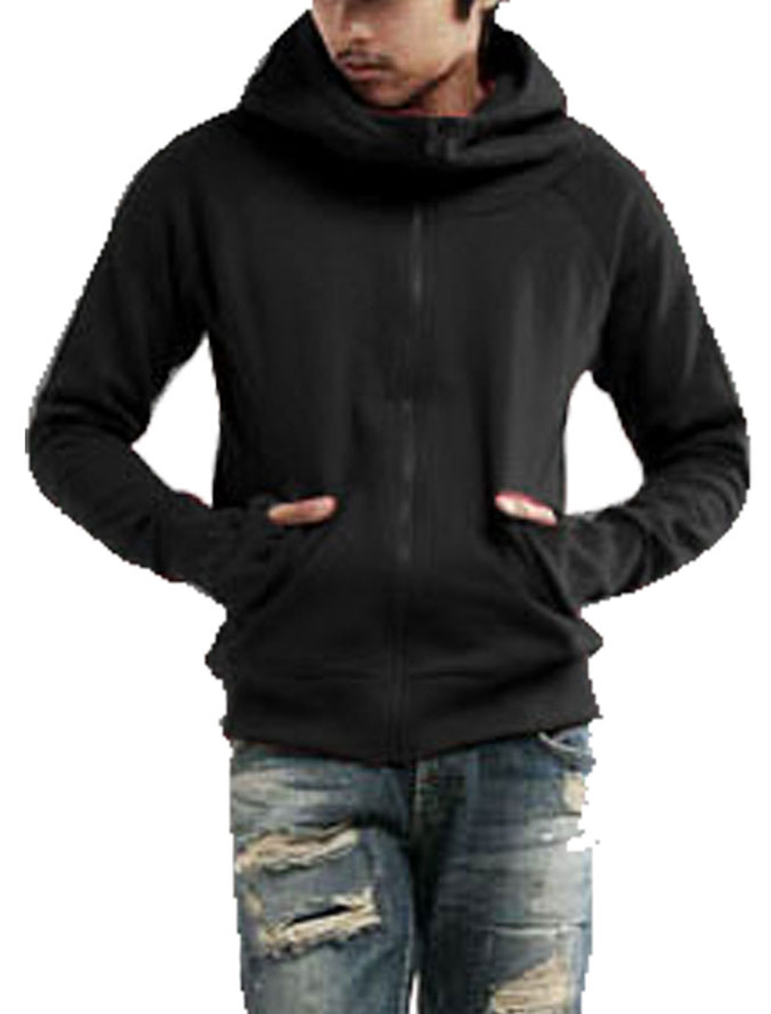 Mens Stylish Cool Hooded Hoody Casual Sweatshirt Coat Black M