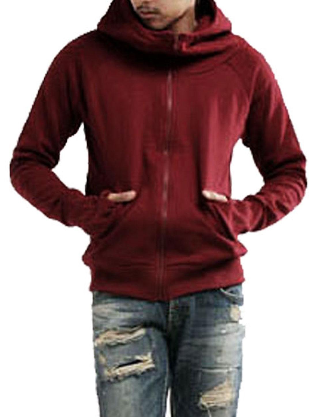 Mens Stylish Casual Hoodie Zipper Jacket Sweatshirt Burgundy M
