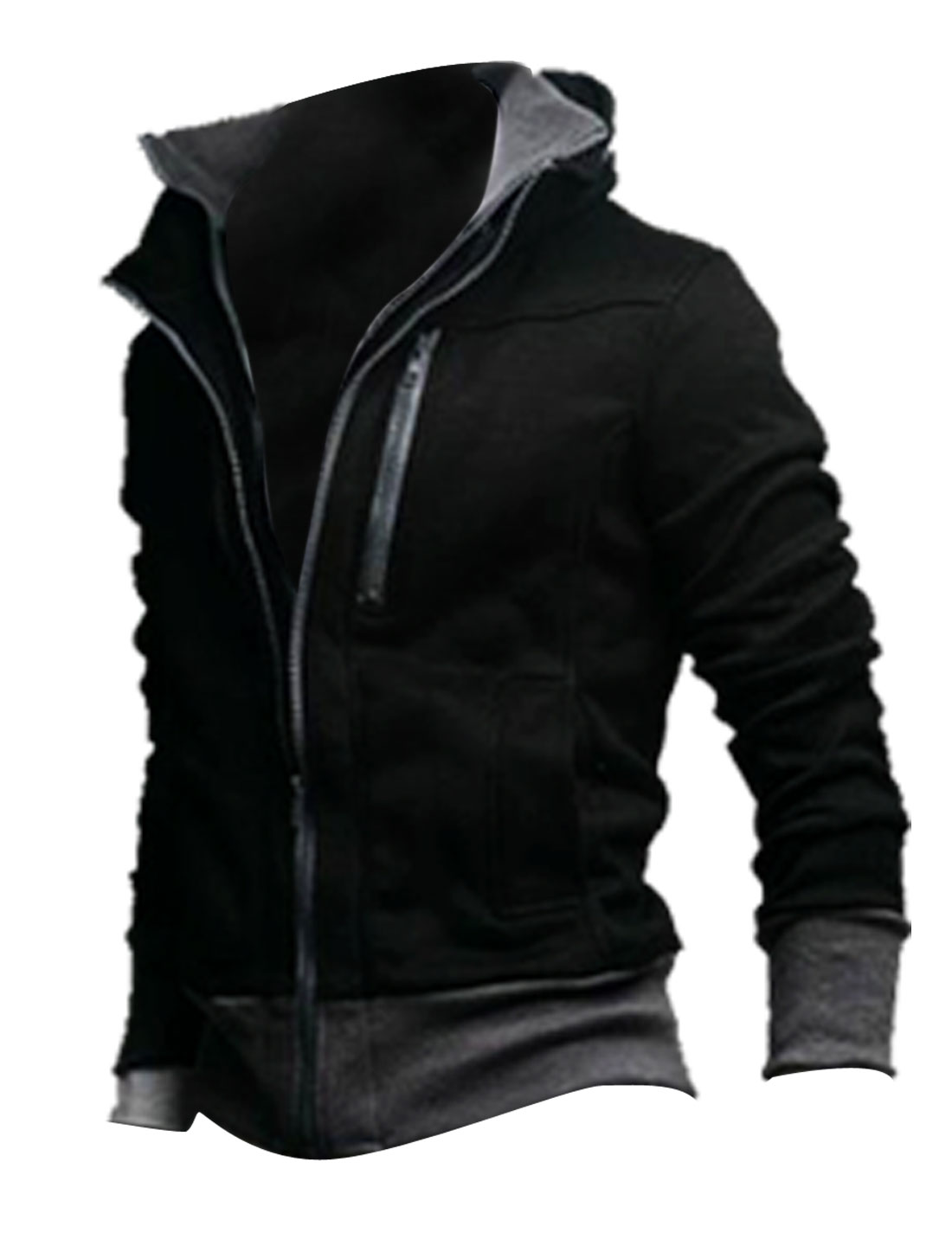 Men 2-fer Long Sleeve Stand Collar Zipper Coat Jacket Black L
