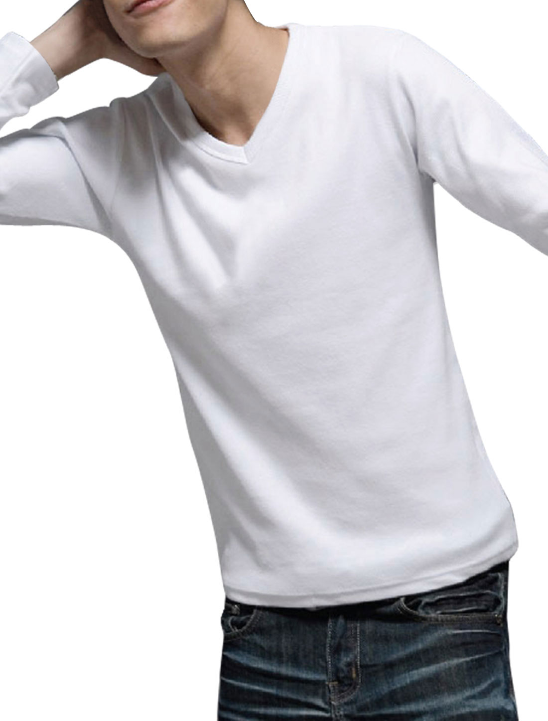 Men Solid White V Neck Long Sleeve Fall Tee Shirt S