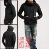 Mens Stylish Cool Hooded Hoody Casual Sweatshirt Coat Black M