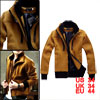 Men 2-fer Long Sleeve Camel Stand Collar Jacket Coat L