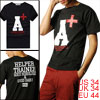 Mens Slim Fit Stretchy Short Sleeve Lettered T-shirt Top Black XS