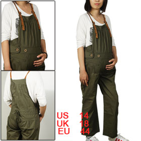 Maternity Motherhood Dark Olive Green Suspender Trousers Overalls L