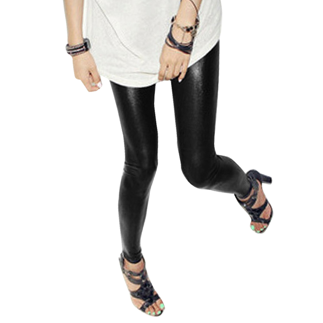 Woman Black PVC Elastic Waist Skinny Pants Leggings S