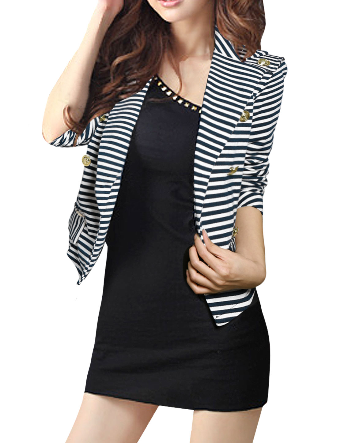 Woman Dark Blue White Stripes Epaulet Peaked Lapel Blazer S