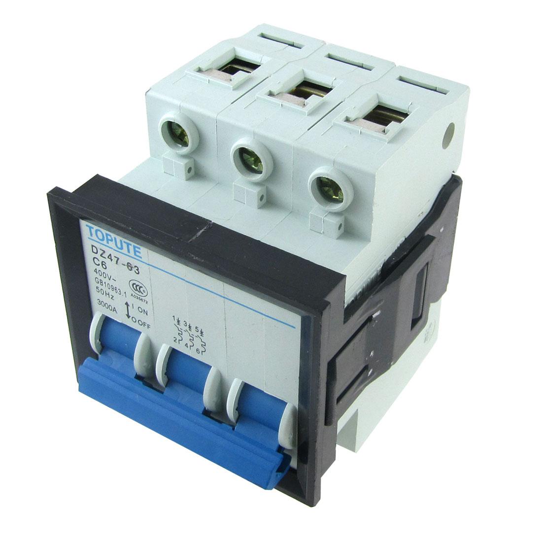 AC 400V 6A 3 Poles 3P MCB Miniature Circuit Breaker DZ47-63 C6