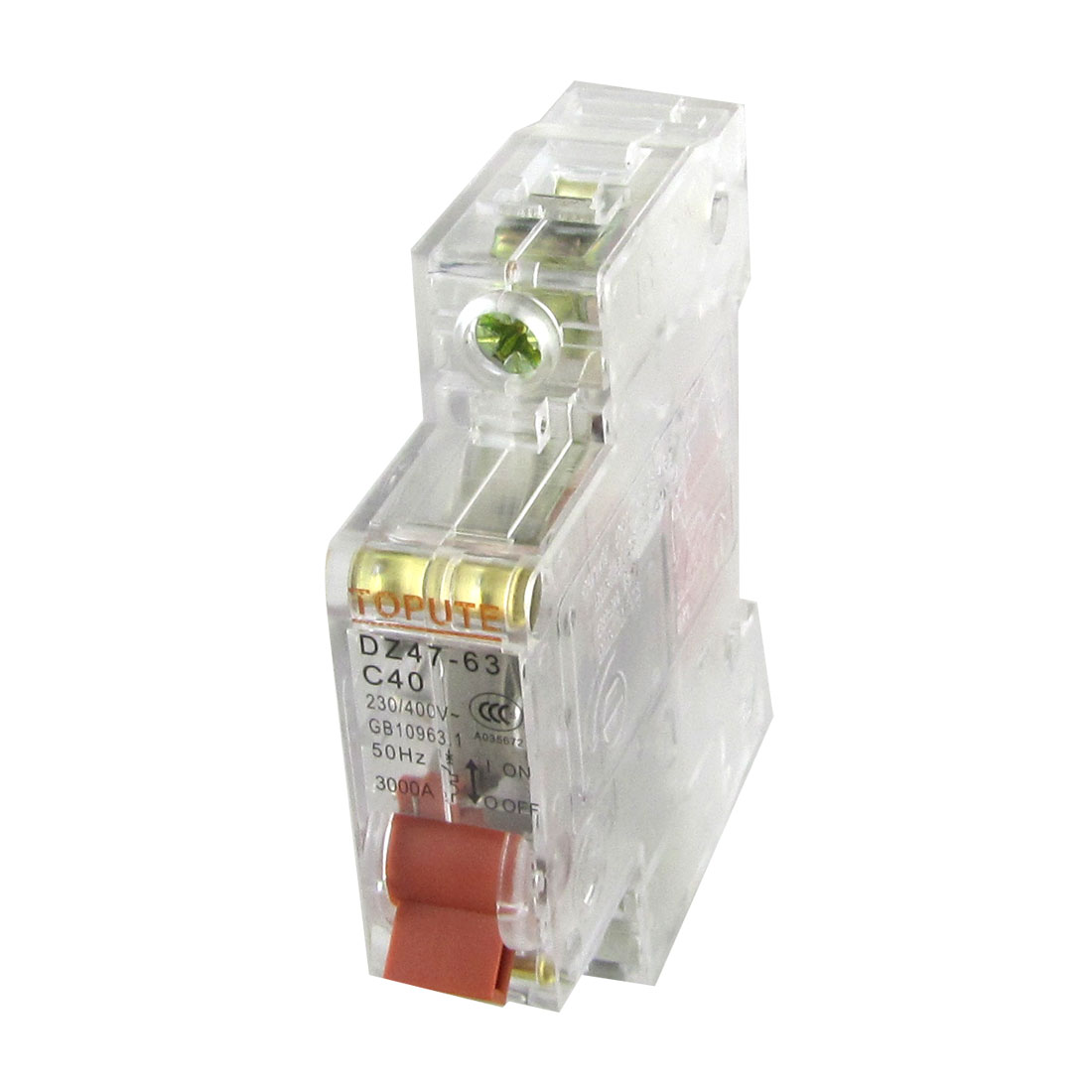 AC 230V 400V 40A Single Pole 1P Transparent Mini Circuit Breaker MCB