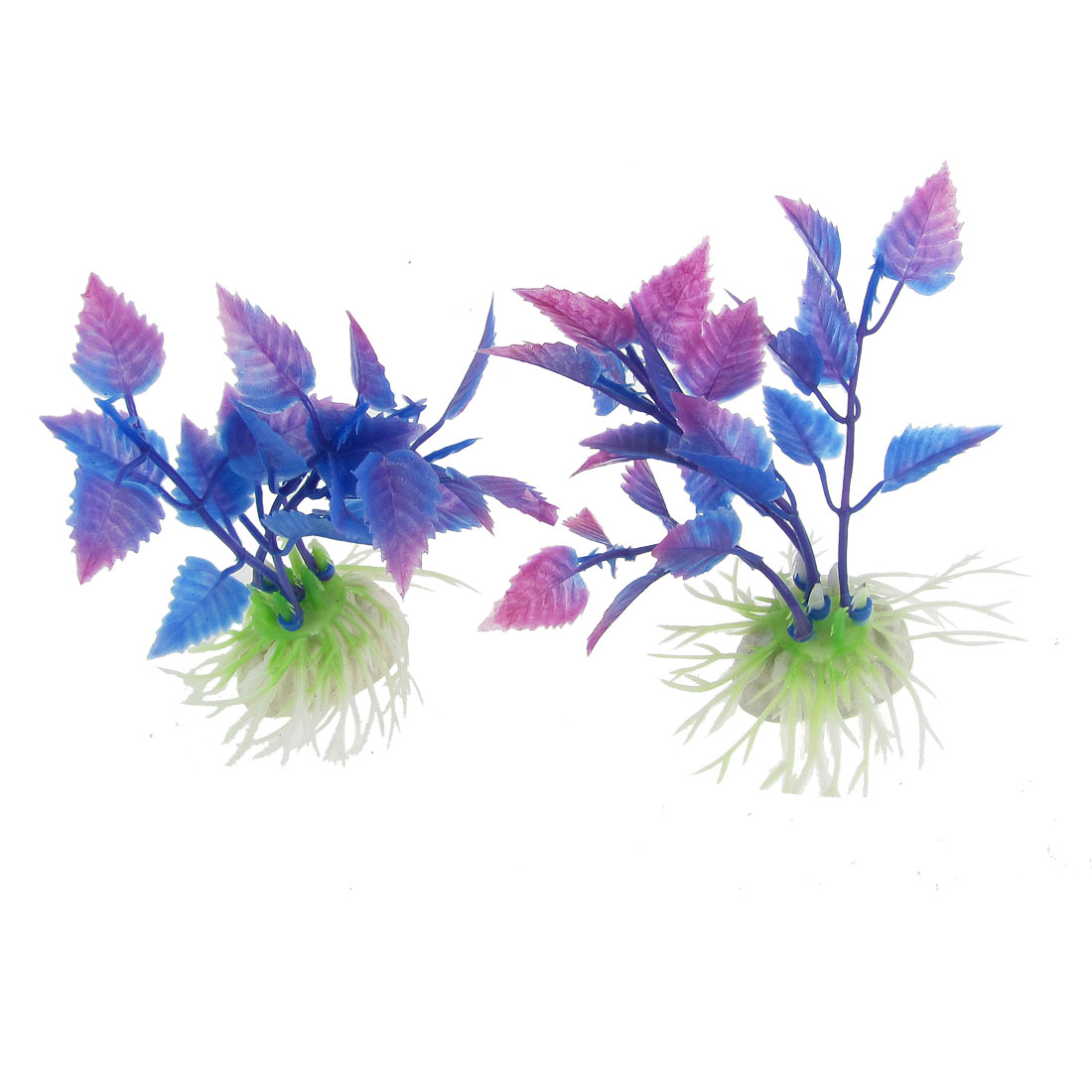 2 Pcs Fuchsia Blue Plastic Water Plants Decor for Aquarium