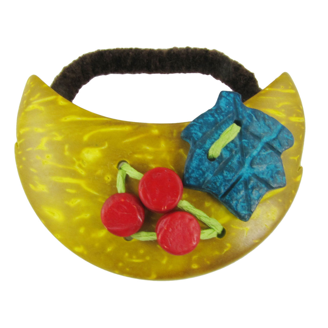 Yellow Craft Moon Coconut Shell Carved Decorate Ponytail Ties Hair Band