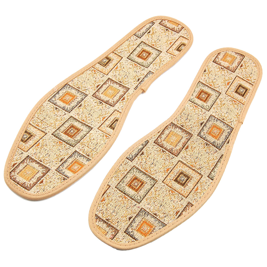 Khaki Checkers Pattern Sweat-absorb Nonslip Shoe Pad Insoles EU 43 for Man