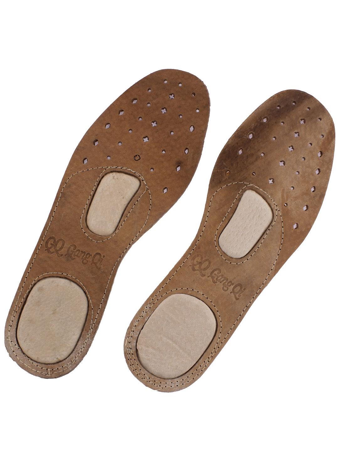Pair Mini Holes Faux Leather Shoe Pad Insoles Light Brown EU 42 for Men