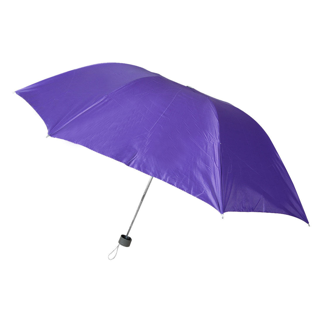 Plastic Handle Water Resistant Fabric 3 Layer Folding Shaft Purple Rain Umbrella