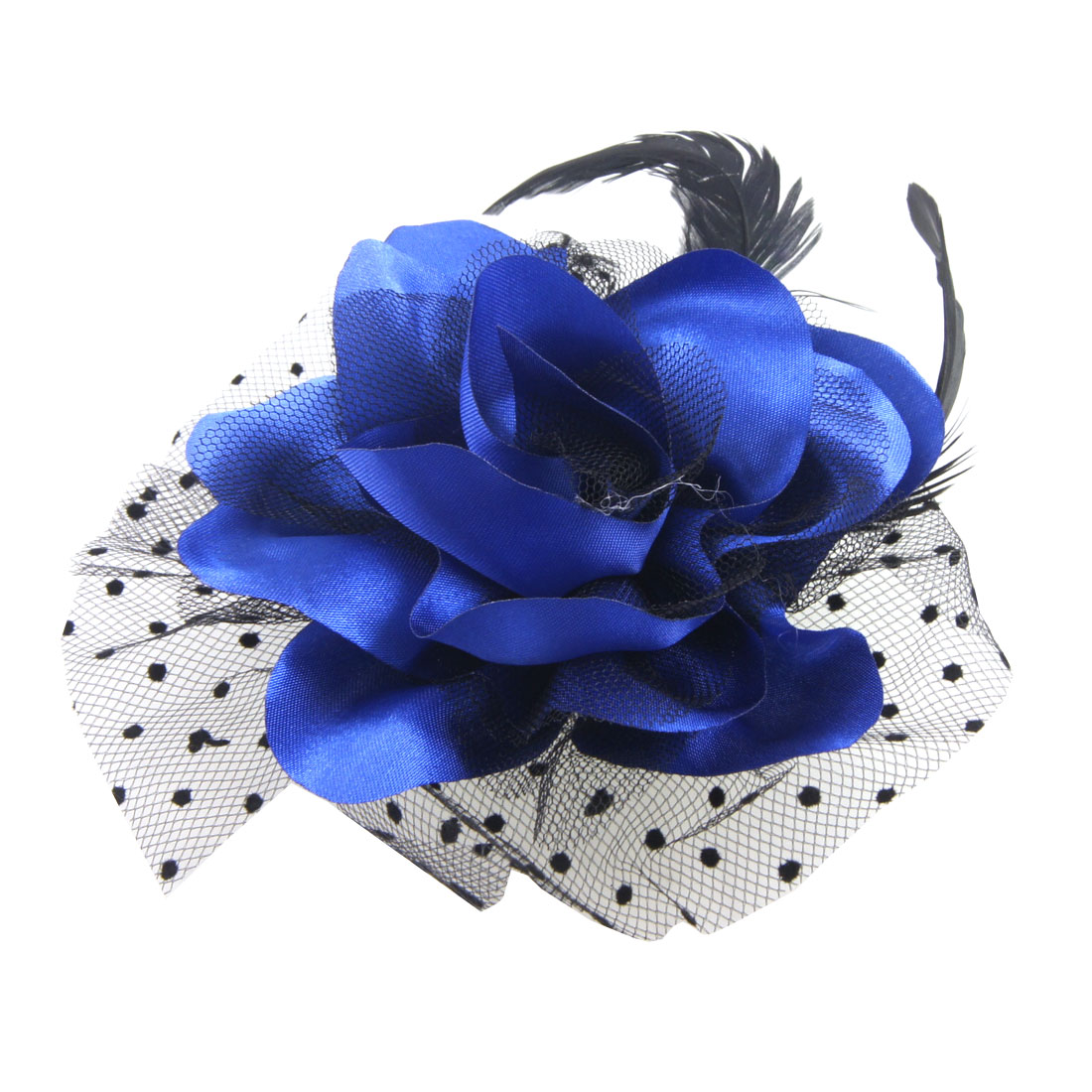 Dark Blue Flower Black Cocktail Feather Hair Clip Corsage for Lady